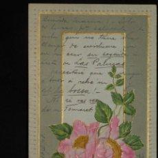 Postales: POSTAL ROMÁNTICA *ROSAS EN RELIEVE Y PAN DE ORO* CIRCULADA, 1908. Lote 288164283