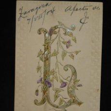 Postales: POSTAL ROMÁNTICA *LETRA L EN RELIEVE Y CON PAN DE ORO* CIRCULADA, 1904. Lote 288166698
