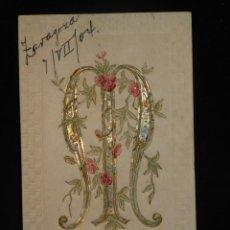 Postales: POSTAL ROMÁNTICA *LETRA M EN RELIEVE Y CON PAN DE ORO* CIRCULADA, 1904. Lote 288166978