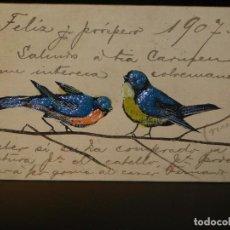 Postales: POSTAL ROMÁNTICA *PÁJAROS PINTADOS Y EN RELIEVE* ESCRITA, 1907. Lote 288167088