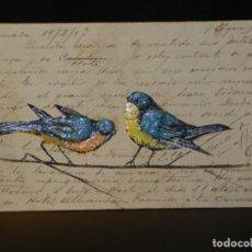 Postales: POSTAL ROMÁNTICA *PÁJAROS PINTADOS Y EN RELIEVE* ESCRITA, 1907. Lote 288167148