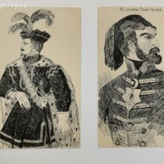 Postales: P-12882. PAREJA DE POSTALES ILUSTRACIONES. GENERAL OMER Y ENRIQUE V.. Lote 294170158
