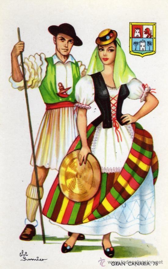 tarjeta postal de traje tipico de gran canaria - Comprar