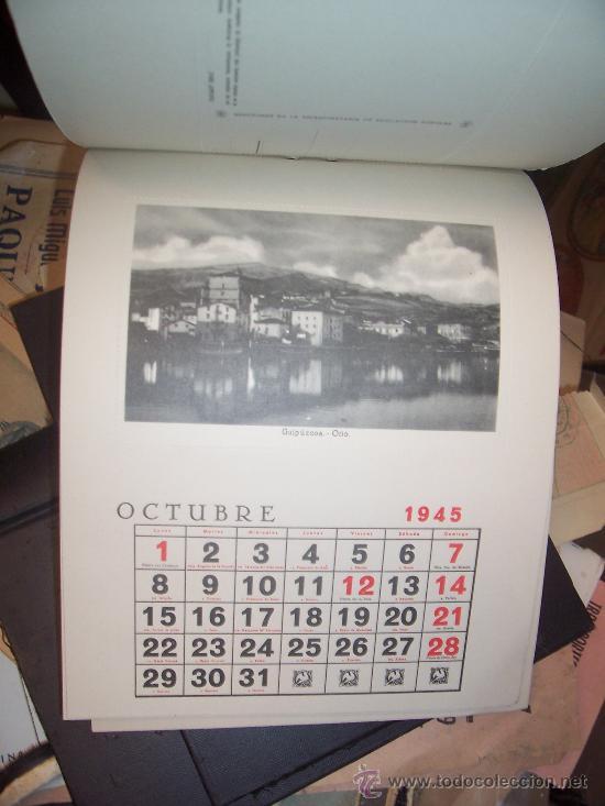 Postales: CALENDARIO - 1945 - 12 POSTALES ESPAÑA FALANGE - Foto 3 - 19796509