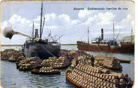 ALMERIA. EMBARCANDO BARRILES DE UVA. PAPELERIA SEMPERE. ESCRITA EN 1922. (Postales - España - Sin Clasificar Moderna (desde 1.940))