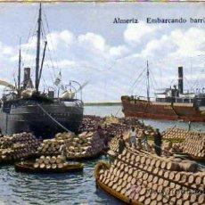 Postales: ALMERIA. EMBARCANDO BARRILES DE UVA. PAPELERIA SEMPERE. ESCRITA EN 1922.. Lote 25989321