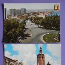 Postales: POSTALES DE COSTA DEL SOL DE MÁLAGA Y DE PLAZA DE LA REINA DE VALENCIA, AÑOS 60. Lote 31575916
