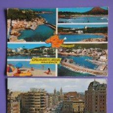 Postales: POSTALES DE CALA RATJADA MALLORCA Y PLAZA DE GUZMÁN EL BUENO Y AVENIDA DE ORDOÑO II,LEÓN, AÑOS 60. Lote 31575948