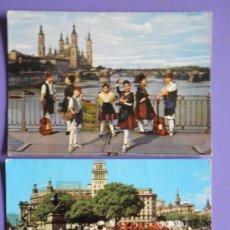 Postales: POSTALES DE PUENTE DE PIEDRA Y BASÍLICA DEL PILAR ZARAGOZA Y PLAZA CATALUÑA DE BARCELONA, AÑOS 60. Lote 31575970