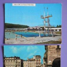 Postales: POSTALES DE ISLA DE LA TOJA DE PONTEVEDRA Y PLAZA MAYOR DE ORENSE, AÑOS 60. Lote 31576053