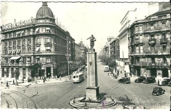 POSTAL BILBAO, MONUMENTO A LOPEZ DE HARO Y GRAN VIA, ED. GARRABELA, REVERSO ESCRITO (Postales - España - Sin Clasificar Moderna (desde 1.940))