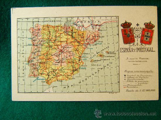 ESPAÑA Y PORTUGAL - POSTAL - MAPA CON ESCUDOS -Nº1- ALBERTO MARTIN. BARCELONA - PRINCIPIOS SIGLO XX. (Postales - España - Sin Clasificar Moderna (desde 1.940))