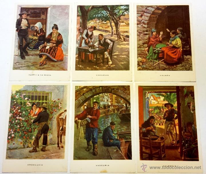 Postales: 15 TARJETA POSTAL LAS REGIONES ESPAÑOLAS CON SU SOBRE ORIGINAL MAS 4 POSTALES DE OBSEQUIO. - Foto 2 - 43877740