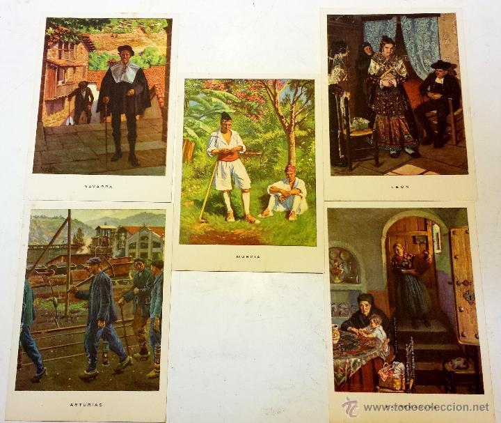 Postales: 15 TARJETA POSTAL LAS REGIONES ESPAÑOLAS CON SU SOBRE ORIGINAL MAS 4 POSTALES DE OBSEQUIO. - Foto 4 - 43877740