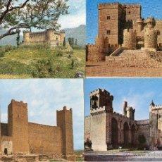 Postales: CUATRO POSTALES DE CASTILLOS DE ESPAÑA MONTEBELTRAN, OLITE, SÁDABA Y AMPUDIA.. Lote 53994185