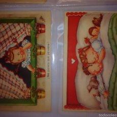 Lote 2 postales infantiles de cartón, coleccion Nilla serie A, Valverde. Sin circular.