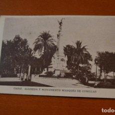 Postales: POSTAL * CADIZ * ALAMEDA Y MONUMENTO MARQUES DE COMILLAS * CIRCULADA Y FECHADA 1942 * P-5. Lote 77472053
