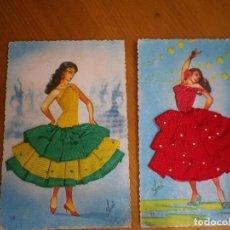 Postales: 2 POSTALES TRAJES DE TELA TIPICOS. Lote 81191084