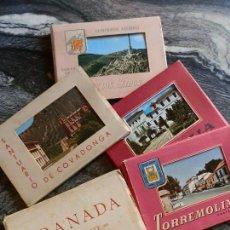 Postales: LOTE SEIS CARTERAS,COLOR,AÑOS 60.GRANADA 2,TORREMOLINOS,MARBELLA,COVADONGA,VALLE CAIDOS. Lote 92248050