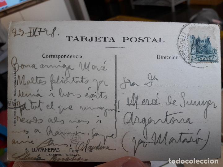 Postales: Llavaneras, Font Llull, ed. Roisin, nº5, 1930, circulada - Foto 2 - 93862675