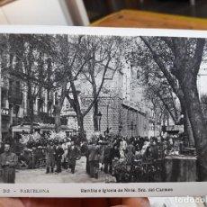 Postales: BARCELONA, RAMBLA E IGLESIA DE NTRA. SRA DEL CARMEN, ED. ORIOL, Nº212, 1930, PRECIOSA. Lote 93894200