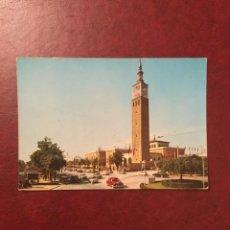 Postales: POSTAL PLAZA DEL EMPERADOR CARLOS V Y FERIA NACIONAL DE MUESTRAS. ZARAGOZA, AÑOS 60. Lote 95085471