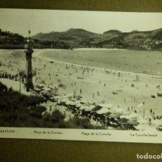Postales: POSTAL - ESPAÑA - SAN SEBASTIAN - PLAYA DE LA CONCHA - ESCRITA AÑO 1956. Lote 100768187