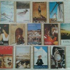 Postales: LOTE 13 POSTALES COLECCIÓN CARTELES TURÍSTICOS DE ESPAÑA. Lote 113352370