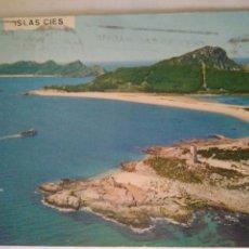 Postales: FOTO POSTAL CIRCULADA,ISLAS CIES,VISTA AEREA.AÑOS 70-80. Lote 115301794