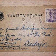 Postales: ANTIGUA TARJETA POSTAL CACERES-BADAJOZ, BAZAR LA LUZ,SELLADA, AÑO 1942. Lote 119260055