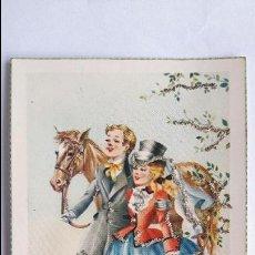 Cartes Postales: POSTAL- FELIZ PAREJA PASEANDO CON CABALLO- JBR 201, SIN CIRCULAR, CON PURPURINA _MA. Lote 126626283