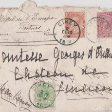 Postales: LOTE A-SOBRE SELLOS BELGICA AÑO 1893 LACRE POR REVERSO. Lote 130591542