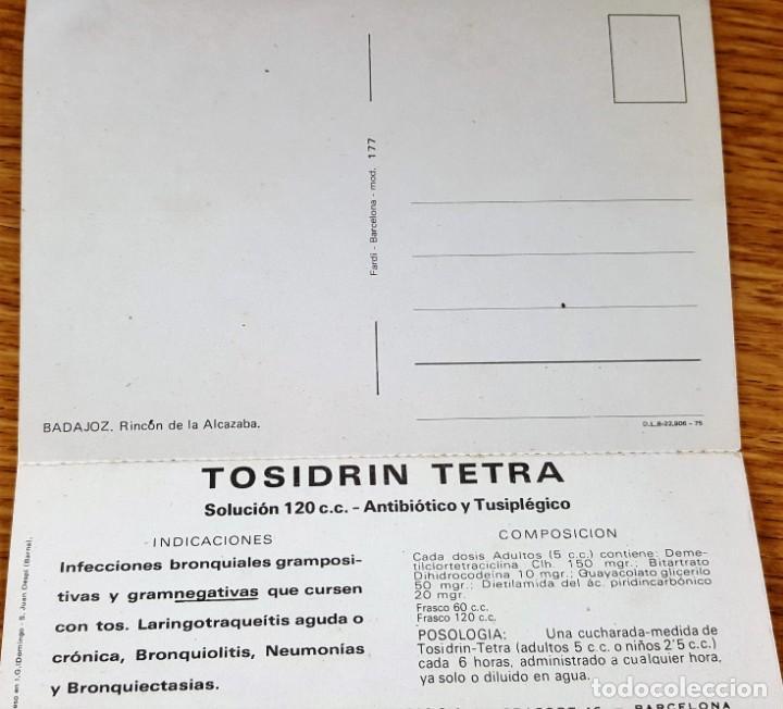 Postales: POSTAL DE BADAJOZ, CON PROPAGANDA TOSIDRIN Y CALENDARIO OCTUBRE 1975- EDICIONES FARDI - Foto 2 - 151717670