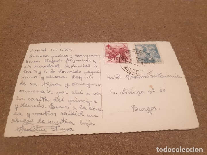 Postales: POSTALES...ANTIGUA POSTAL DEL MONASTERIO DEL ESCORIAL...... ........... CIRCULADA.... - Foto 2 - 180956181