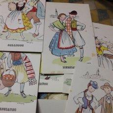 Postales: POSTAL ANTIGUA TRAJES REGIONALES LOTE. Lote 186328846