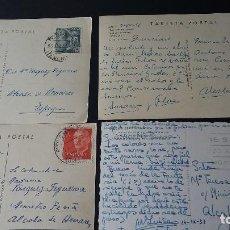 Postales: 4 POSTALES ESPAÑA 1957-58 CIRCULADAS DESTINO ALCALA DE HENARES. Lote 190274893