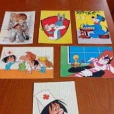 Postales: LOTE 6 POSTALES INFANTILES AÑOS 60 SIN USAR. Lote 191785648