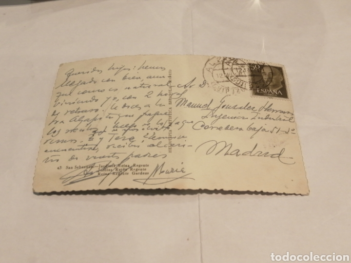 Postales: Jardines Reina Regente. San Sebastian. Circa 1954. - Foto 2 - 195001136