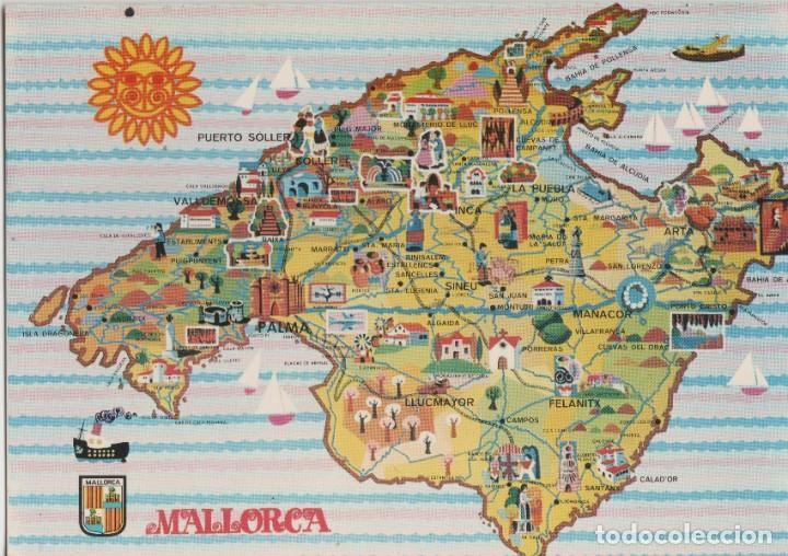 LOTE B-POSTAL MALLORCA MAPA AÑOS 60 (Postales - España - Sin Clasificar Moderna (desde 1.940))