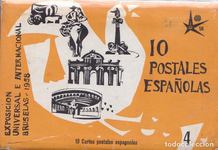 ESPAÑA - TACO DE 10 POSTALES DE LA EXPOSICION UNIVERSAL DE BRUSELAS AÑO 1958 (Postales - España - Sin Clasificar Moderna (desde 1.940))