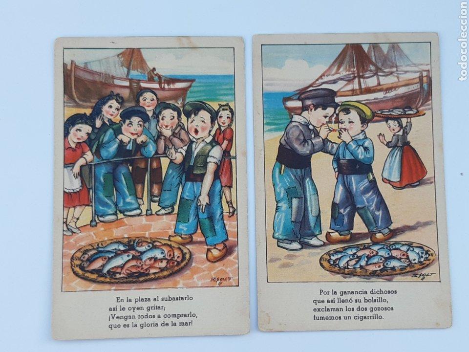POSTALES ARTISTICAS SOBRE LA PESCA 1950 (Postales - España - Sin Clasificar Moderna (desde 1.940))