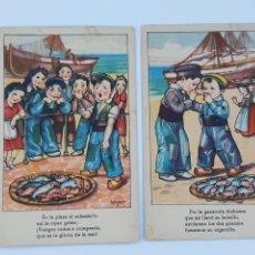 Postales: POSTALES ARTISTICAS SOBRE LA PESCA 1950. Lote 206555276