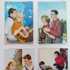 Cartes Postales: LOTE 4 POSTALES FOTOGRÁFICAS BORDE DORADO AÑOS 50. Lote 215920811