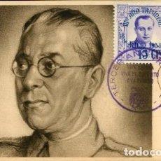 Postales: GENERAL MOLA, SELLO DE JOSÉ ANTONIO DE 1938 Y MATASELLOS DEL III AÑO TRIUNFAL. NUEVA. Lote 222777390
