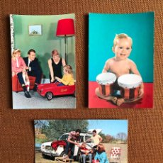 Postales: LOTE 3 POSTALES. AÑOS 60. PICNIC. RENAULT. FAMILIA. BEBÉ. ESPAÑA. FRANQUISMO. POP. NUEVAS. Lote 224459701