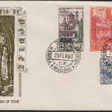 Postais: FDC SPAGNA - 1963- MONASTERY OF SANTA MARIA DE POBLET - 25C+1PTA+5PTA+3PTA. Lote 235014240