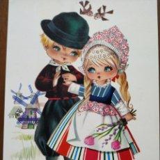 Cartes Postales: POSTAL. GALLARDA ( PAREJA DE HOLANDESES CON MOLINOS, PÁJAROS Y FLORES) SIN CIRCULAR.. Lote 235325500