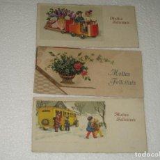 Postales: ANTIGUAS POSTALES FELICITACION - LOTE DE TRES - ESCRITAS. Lote 243239020