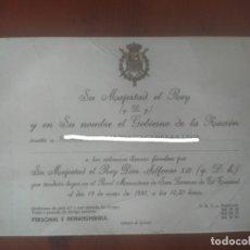 Postales: INVITACIÓN A LAS SOLEMNES HONRAS FÚNEBRES POR SU MAJESTAD EL REY DON ALFONSO XIII. Lote 243420080