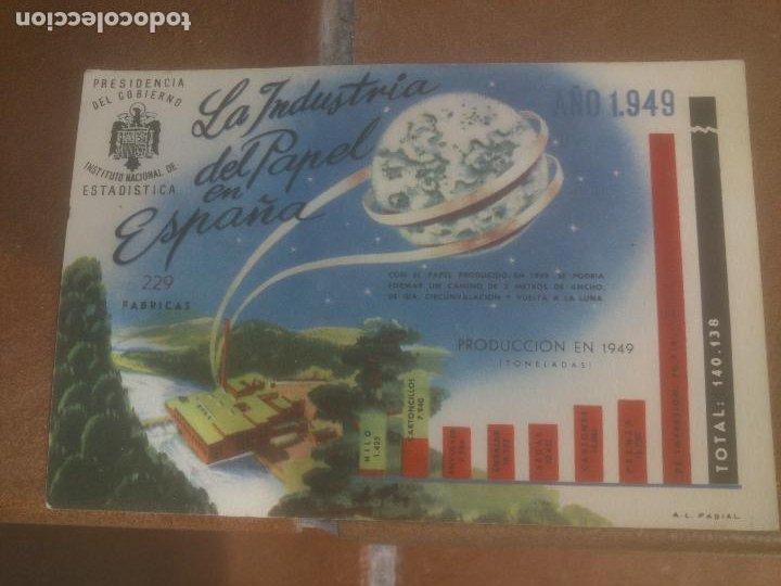 ANTIGUA POSTAL LA INDUSTRIA DEL PAPEL EN ESPAÑA - NO CIRCULADA - ED. PRESIDENCIA DE GOBIERNO. (Postales - España - Sin Clasificar Moderna (desde 1.940))